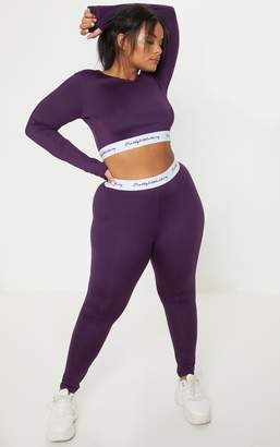 PrettyLittleThing Plus Aubergine Elasticated Band Leggings