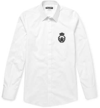 Dolce & Gabbana Slim-Fit Embellished Cotton Shirt - Men - White
