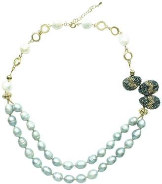 Farra - White Gray Freshwater Pearls & Rhinestones Necklace