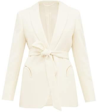 BLAZÉ MILANO Resolute Waist Tie Wool Crepe Tuxedo Blazer - Womens - Cream