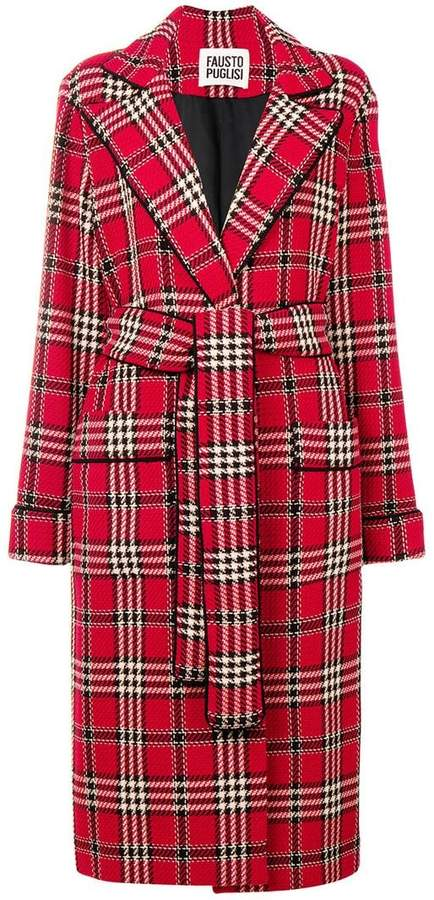 classic check long coat