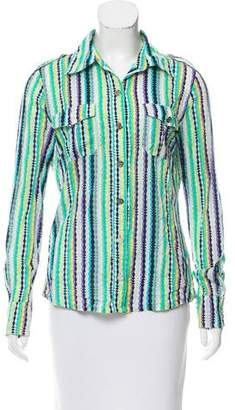 Tory Burch Stripe Long Sleeve Button-Up