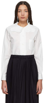 Comme des Garcons White Scalloped Collar Shirt