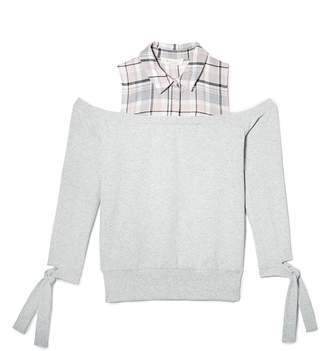 Vince Camuto Plaid-yoke Cold-shoulder Sweatshirt