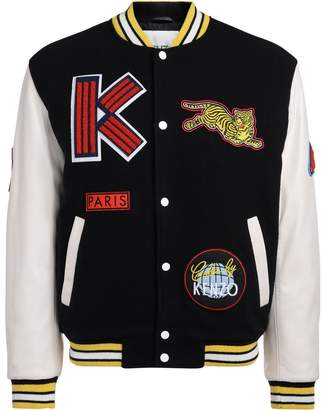 Kenzo Varsity Black Wool Fabric And White Leather Jacket