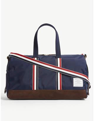 Thom Browne Navy Blue Stripe Trim Duffel Bag