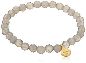 Satya Jewelry Agate Gold Plated Cherry Blossom Charm Stretch Bracelet