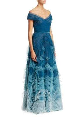 Marchesa Off-The-Shoulder Ombre Tulle Gown