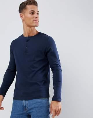 Asos DESIGN long sleeve t-shirt with grandad neck in navy