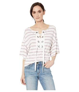 Tribal Stripe Knit Crepe Short Sleeve Top with Eyelets