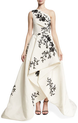 One-Shoulder High-Low Draped Gown, White/Black