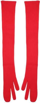 Maison Margiela Ribbed Knit-wool Long Gloves
