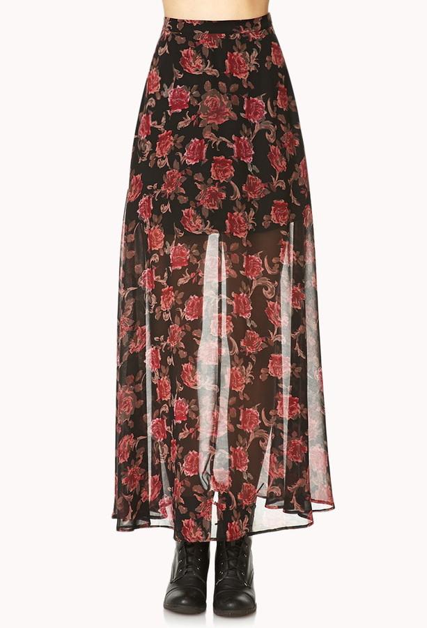 Forever 21 Romantic Rose Maxi Skirt