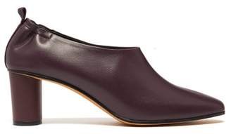 Gray Matters - Micol Block Heel Leather Pumps - Womens - Burgundy
