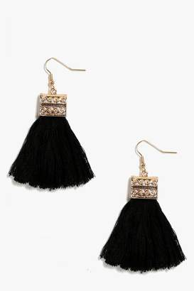 boohoo Engraved Detail Tassel Fringe Earrings