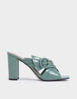Charles & Keith Criss Cross Pleated Buckle Strap Heeled Slide Sandals