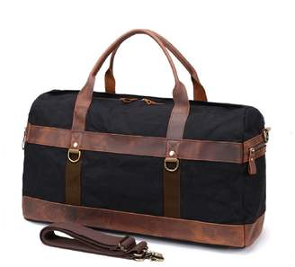 EAZO - Vintage Look Waxed Canvas & Leather Holdall In Black