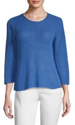 Eileen Fisher Roundneck Three-Quarter Sleeve Top