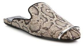 Alexander Wang Jaelle Teak Snake-Embossed Leather Loafer Slides $595 thestylecure.com