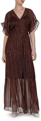 BA&SH Wanda Metallic Herringbone Print Maxi Dress