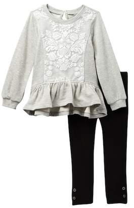 Calvin Klein Puff Lace Ruffle Bottom Top & Leggings Set (Little Girls)