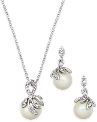 Charter Club Silver-Tone Pave Imitation Pearl Pendant Necklace and Matching Drop Earrings Set, Created for Macy's