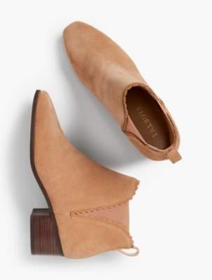 Talbots Dakota Suede Scallop-Edge Ankle Boots
