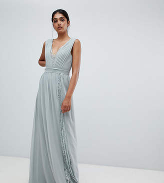 Little Mistress Tall maxi dress with lace inserts