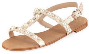 Neiman Marcus Prize Studded Flat Sandal