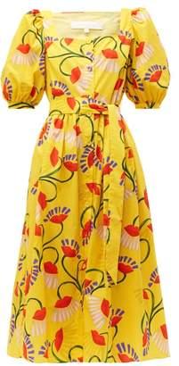 Borgo de Nor Corin Lip & Floral Print Cotton Poplin Midi Dress - Womens - Yellow Multi