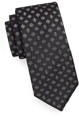 Geoffrey Beene Geo-Patterned Silk-Blend Tie
