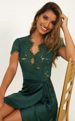 Showpo Love Grows Dress in emerald satin - 6 (XS) Dresses