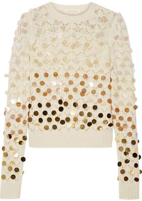 Marc Jacobs - Sequin-embellished Wool And Cashmere-blend Sweater - Ivory $495 thestylecure.com