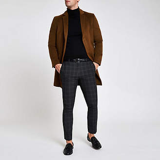 River Island Brown button-down overcoat