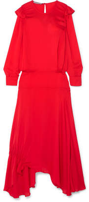 Preen Line Mia Ruffled Crepe De Chine Maxi Dress - Red