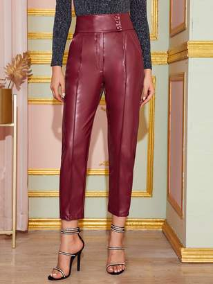 Shein Buttoned Wide Waistband Leather Look Pants