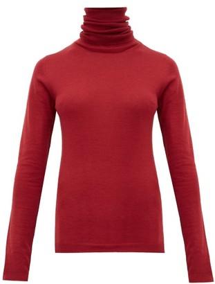 Sara Lanzi Roll Neck Merino Wool Sweater - Womens - Dark Red