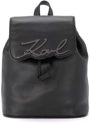 Karl Lagerfeld Signature Black Leather Backpack With Metal Logo.