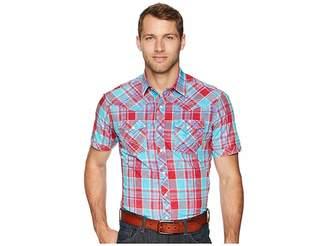 Wrangler Rock 47 Short Sleeve Plaid Snap Shirt Men's Short Sleeve Button Up
