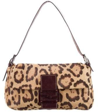 Fendi Leopard Print Ponyhair Baguette