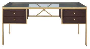 ACME Furniture ACME Yumia Writing Desk in Goldtone with Glass Top