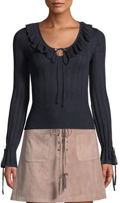 Cupcakes And Cashmere Koren Ribbed Ruffle Long-Sleeve Sweater