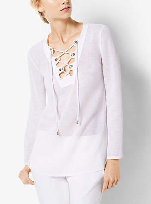 Michael Kors Lace-Up Linen Tunic