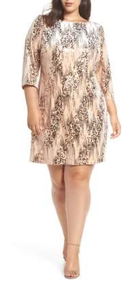 Eliza J Sequin Velvet Shift Dress