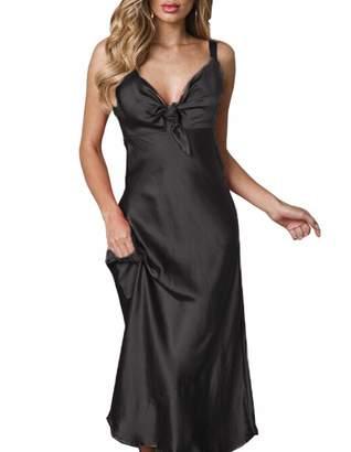 82986dbdeefe air-SMART Women's Sexy Satin Nightgown Full Length Slip Lingerie Chemise  Robes (XL,