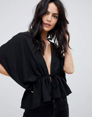 Asos Design DESIGN kimono top with drawstring