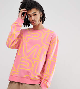 Puma Crew Neck Sweatshirt With All Over Print In Pink Exclusive To Asos