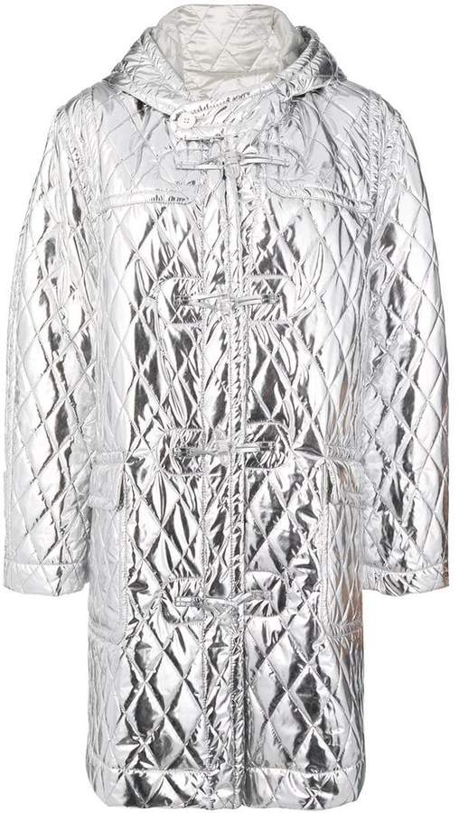metallic quilted coat