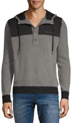 Versace Button-Front Hooded Sweater