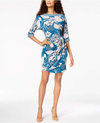 Robbie Bee Petite Puff-Print Knotted Jersey Dress